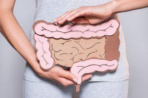 女性と腸のイラスト